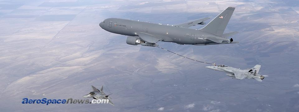 Boeing KC-46 Pegasus Tanker First F/A-18 Aerial Refueling Test Picture