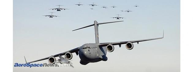Hot Pic of Seventeen USAF Boeing C-17 Globemaster IIIs
